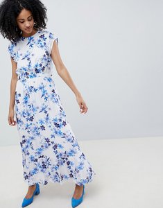 Read more about Gestuz floral maxi dress with frill shoulder - white flower