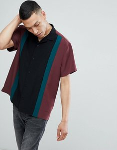 Read more about Asos regular fit viscose cut and sew shirt with revere collar in burgundy - burgundy