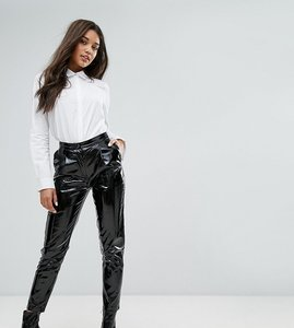 Read more about Missguided vinyl high waisted trousers - black