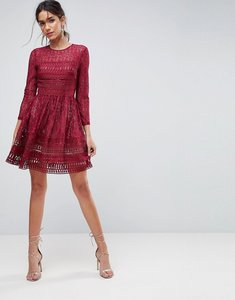 Read more about Asos premium lace mini skater dress - oxblood