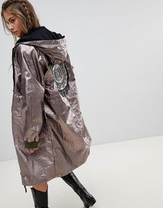 Read more about Native rose oversized parka jacket in metallic foil with beaded back patch - gunmetal