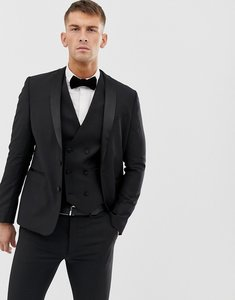 Read more about Asos design slim tuxedo suit jacket in black 100 wool - black