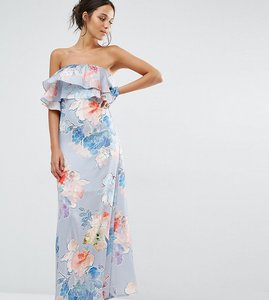 Read more about Every cloud etched floral frill bandeau maxi dress - multi print