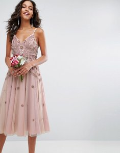 Read more about Asos wedding iridescent delicate beaded strappy midi dress - nude