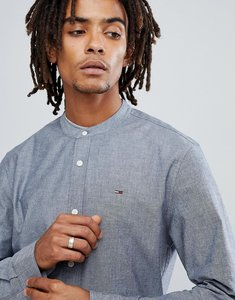 Read more about Tommy jeans grandad collar oxford shirt regular fit flag logo in navy - dark indigo