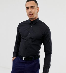 Read more about Selected homme tall slim shirt with tipped collar - black