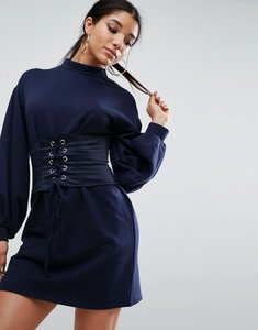 Read more about Asos premium sweat dress with satin corset - navy