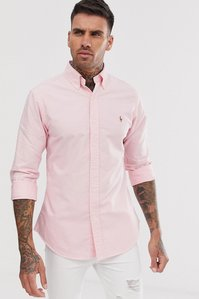 Read more about Polo ralph lauren player logo slim fit oxford shirt button-down in pink