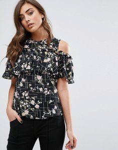 Read more about Miss selfridge floral cold shoulder top - multi