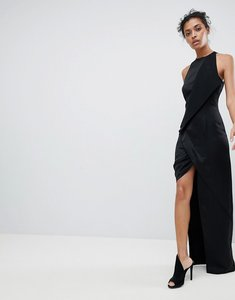 Read more about Aq aq wrap front maxi dress with asymmetric split detail - black