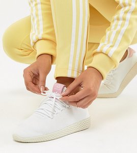 Read more about Adidas originals pharrell williams tennis hu trainers in white and pink - white