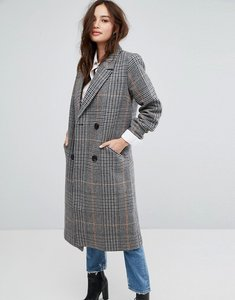 Read more about Vila double breasted check coat - black check