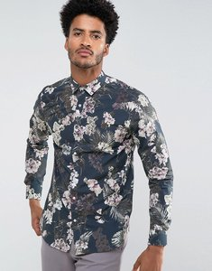 Read more about Selected homme slim smart shirt in tropical print - navy