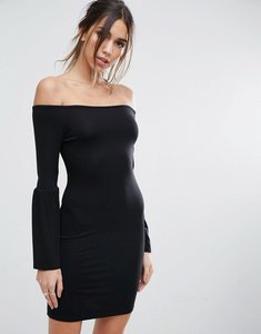 Read more about Asos bardot off shoulder mini bodycon dress with trumpet sleeves - black