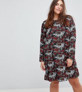 Read more about Glamorous curve long sleeve swing dress in antique floral - black multi