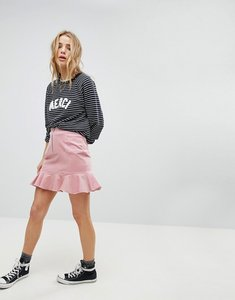 Read more about Glamorous mini skirt with pephem in corduroy - pink corduroy