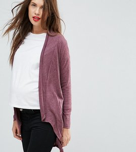 Read more about Mamalicious drape front cardigan - zinfandel melange
