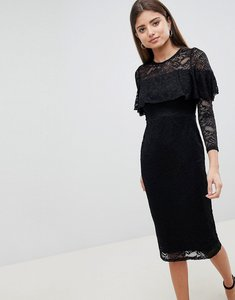 Read more about Asos midi lace pencil dress with long sleeves and frill detail - black