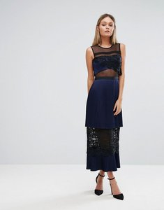 Read more about Three floor double tiered midi dress with lace inserts - navy