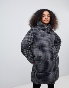 Read more about Monki check padded coat - dark black check
