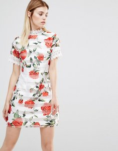 Read more about Ax paris high neck printed mini dress - cream