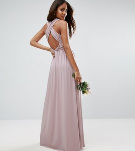 Read more about Asos tall wedding drape twist back maxi dress - lilac