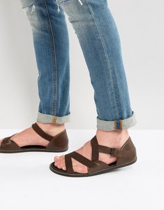 Read more about Asos sandals in brown leather with tape straps - brown