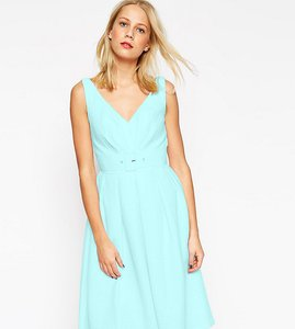 Read more about Asos tall 50 s belted prom dress - blue