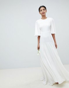 Read more about Asos edition wedding dress with open back and flutter sleeve - white