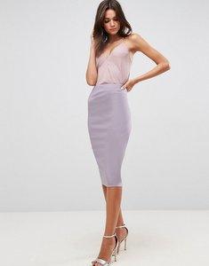 Read more about Asos high waist longerline pencil skirt - dusky lilac