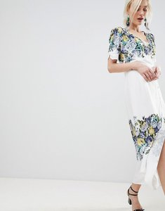 Read more about Free people jaimie floral print midi wrap dress - neutral combo