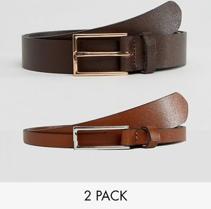 Read more about Asos 2 pack smart leather slim belt save - multi