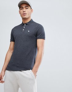 Read more about Abercrombie fitch stretch pique slim fit polo icon moose logo in charcoal marl - charcoal marl
