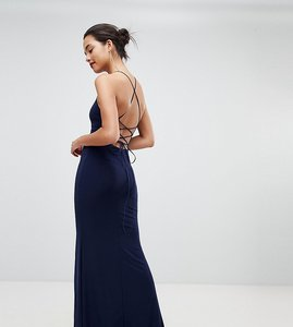 Read more about Outrageous fortune high neck maxi dress with thigh split - navy