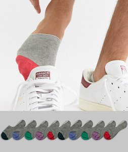 Read more about Asos design invisible liner socks in grey with contrast toes 10 pack - grey