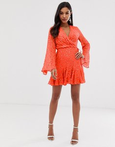 Read more about Asos design mini skater dress with long sleeve in all over scatter sequin