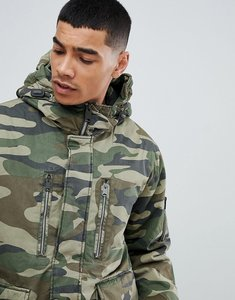 Read more about Pull bear padded parka jacket with hood in khaki - khaki