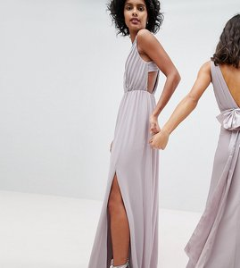 Read more about Tfnc pleated maxi bridesmaid dress with back detail - grey