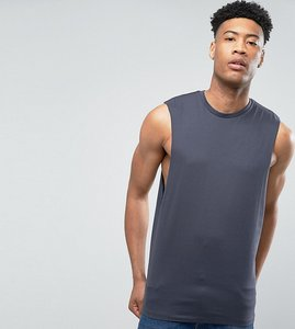 Read more about Asos tall sleeveless t-shirt with dropped armhole in grey - atlantic