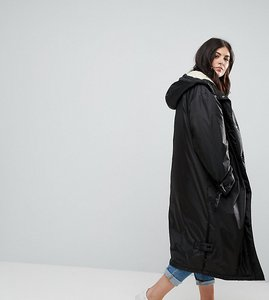Read more about Asos curve borg lined maxi raincoat - black