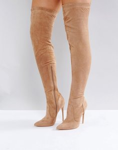 Read more about Public desire sonar over the knee boots - nude faux suede