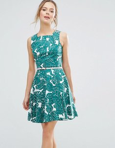 Read more about Closet london rose print belted skater dress - green