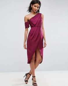 Read more about Asos hammered satin pencil midi dress - berry
