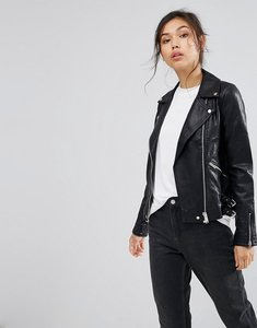 Read more about Warehouse leather look biker jacket - black