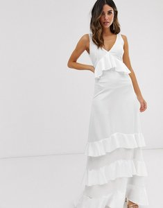Read more about Y a s ruffle maxi dress with lace inserts