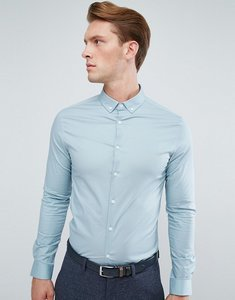 Read more about Asos skinny shirt in slate with button down collar - slate blue