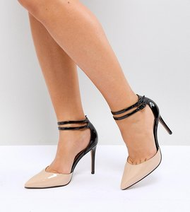 Read more about Asos primrose wide fit pointed heels - nude black