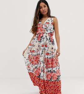 Read more about Parisian petite wrap front floral border print maxi dress