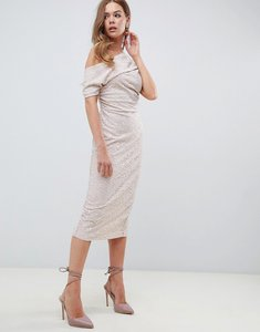 Read more about Asos pleated shoulder lace midi dress - cream