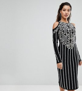 Read more about A star is born midi dress in jersey with embellishment and cold shoulder detail - black